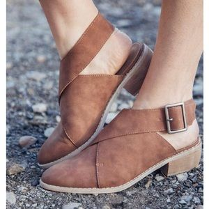 Tan Ankle Wrap Buckle Bootie